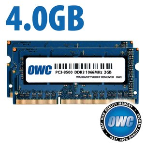 (*) 4.0GB (2x 2GB) PC-8500 DDR3 kit for most 2008 to 2010 iMac, Mac mini, MacBook, & MacBook Pro