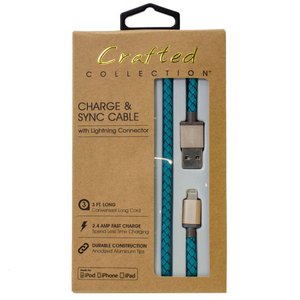 "0.9 Meter (36"") Crafted Collection by Pilot Premium 'Leather Stitch' Lightning to USB Charge and Sync Cable - Turquoise"