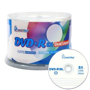 (*) Smartbuy 8X DVD+R 8.5GB, Dual Layer, White/Blank DVD Inkjet Printable Media - 50 Pack Spindle