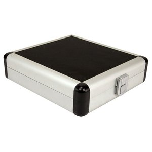 "20 Disc CD/DVD/Blu-ray Case: Black ""Nail Head"" Surface w/ Silver Trim"