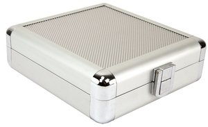 "20 Disc CD/DVD/Blu-ray Case: Silver ""Diamond"" Surface w/ Brushed Silver Trim"