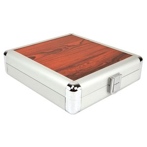 20 Disc CD/DVD/Blu-ray Case: Simulated Redwood Surface w/ Silver Trim