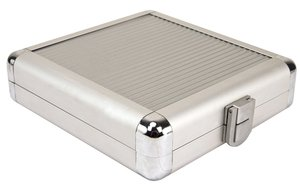 "24 Disc CD/DVD/Blu-ray Case: Silver ""Corduroy"" Stripe Surface w/ Silver Trim"