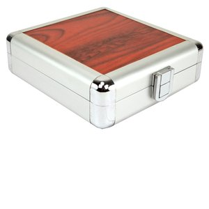 24 Disc CD/DVD/Blu-ray Case: Simulated Redwood Surface w/ Silver Trim