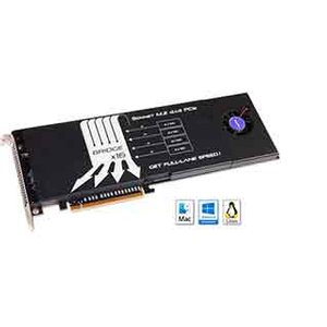 Sonnet Technologies M.2 4x4 PCIe Card. Features x16 PCIe bridge, 4 lanes of PCIe 3.0 bandwidth for each SSD installed