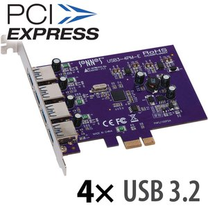 Sonnet Technologies Allegro USB 3.2 4-Port SuperSpeed USB 3.2 Charging PCI Express 2.0 Card