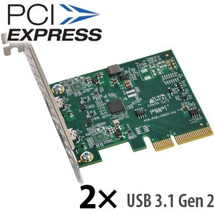 Sonnet Technologies Allegro 2-Port USB-C SuperSpeed USB 10GBps PCIe Card with USB-C Charging