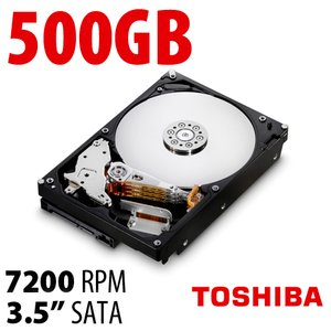 (*) 500GB Toshiba DT01ACA Series 3.5-inch SATA 6.0Gb/s 7200RPM Hard Drive with 32MB Cache