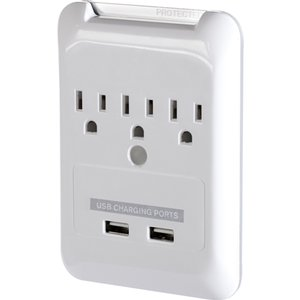 Targus Plug-N-Power wall plug charging station with 2 USB charging ports and 3 regular US sockets.