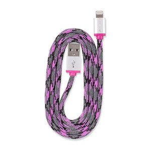 0.9M (3') 360 Electrical QuickLink Braided Lightning to USB Braided Charging Cable - Pink