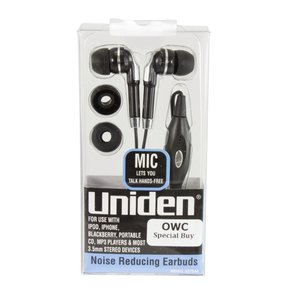Uniden Earbuds Stereo Headphones with Inline Remote and Mic