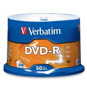 Verbatim 16x DVD-R 4.7GB Blank DVD Media - 50 Pack Spindle