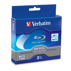 Verbatim 6x BD-R DL 50GB Blank Blu-ray Media - 3 Pack in Jewel Cases.