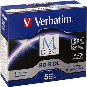 Verbatim 6X BD-R DL 50GB Blank M-DISC Blu-ray Media - 5 Pack in Jewel Cases