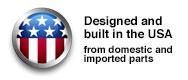 Ontworpen en gebouwd in de Verenigde Staten Emblem